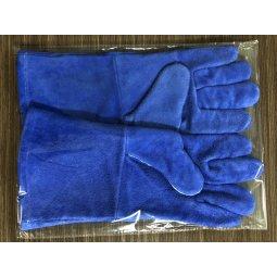 Găng tay da hàn cao cấp 2 lớp màu xanh 35cm (xuất khẩu)