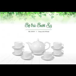 Bộ ấm trà Bát Tràng dáng Bưởi S3 Hàng trắng