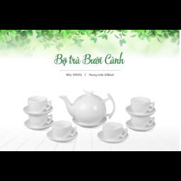 Bộ ấm trà Bát Tràng dáng Bưởi Cành Hàng trắng