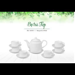 Bộ ấm trà Bát Tràng dáng Tiệp Hàng trắng