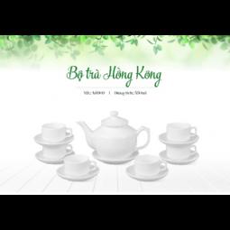 Bộ ấm trà Bát Tràng dáng HongKong Hàng trắng