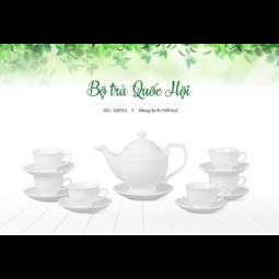 Bộ ấm trà Bát Tràng dáng Quốc Hội Hàng trắng